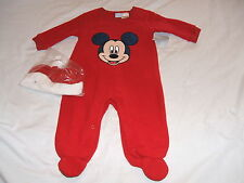 DISNEY BABY Mickey Mouse Outfit Red Fleece Santa & Red Hat 3-6 Months *NWT*