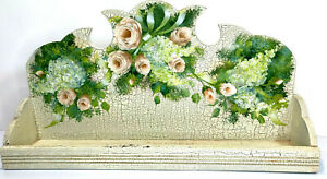 """Wood Wall Shelf Floating 20""""x10"""" Plate Holder Wall Hang Handpainted White Floral"""