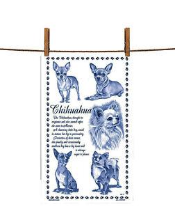BN Chihuahua White Cotton Tea Towel, Chihuahua Gift, Uk Made