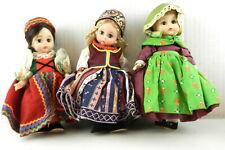 "3 Madame Alexander 8"" Dolls Czechoslovakia, Denmark, Latvia Girls Lot T30"