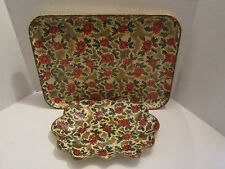 Vintage Set of 2 Pointsettia Serving Trays with Red & Gold Made in Japan