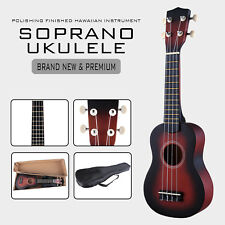 Wood Soprano Ukulele Guitar Sapele 12 Frets Instrument with Carry Bag
