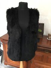 *TOPSHOP* black gilet with faux fur front panels; knitted back, size L - 14