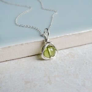 Peridot Necklace Sterling Silver Handmade August Birthstone Pendant Necklace