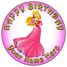 """DISNEY PRINCESS AURORA PARTY - 7.5"""" PERSONALISED ROUND EDIBLE ICING CAKE TOPPER"""