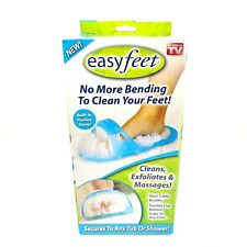 New Easy Feet Foot Cleaner Scrubber Bath Massager Bathroom Shower Slipper Blue