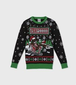 Holiday Sweater Christmas Cats Leigher Pullover Boys Kids Size L Snowflakes Ugly