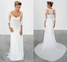 Simple Wedding Dresses 3/4 Long Sleeves Vintage Sheath Chiffon Lace Bridal Gowns