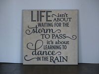 Life, waiting for the storm to pass, dance in the rain, Decorative tile plaque