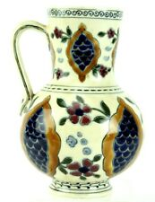 Antique Zsolnay Pecs Hungary Floral Seed Painted Porcelain Vase Pitcher Jug BNF