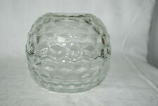 Homco Home Interior Clear Glass 2 Piece Round Cubist Fairy Lamp Candle Holder