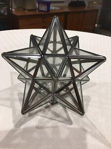 VINTAGE MORAVIAN STAR Pendant GLASS Silver Light SHADE Stunning