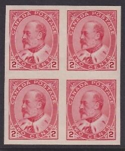 CANADA 1903 MINT NH SC #90A KEVII IMPERF BLOCK CAT $360