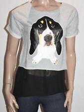 E&JOY by ETAM Designer Grey Puppy Print Mock Chiffon Tunic Top Size S BNWT #SY31