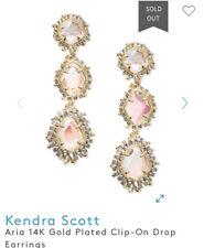 NWT Kendra Scott Aria 14K Rose Gold Dichroic Glass Clip On Earrings! $250