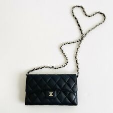 Authentic CHANEL Quilted Black Leather Wallet WOC Crossbody Bag On Chain Silver