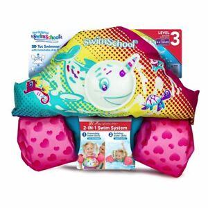 SwimSchool 3D Tot Swimmer & Arm Floats Pink 4-6 Years 50 Lbs Pool Life Vest Kids