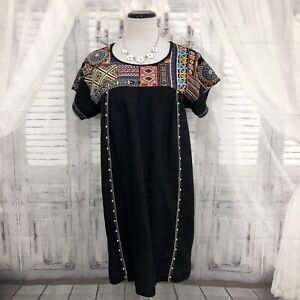 Johnny Was Medium Tunic Shirt Dress Short Black Linen Embroidered Boho Flaw B54