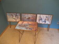 Set 4 Vtg Metal Folding TV Trays J. MaCleod Ducks Mid-Century Modern MCM