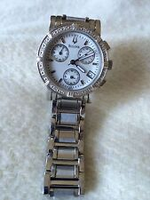 Bulova Chronograph Ladies Watch, White Dial, Real Diamonds