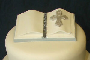 HANDMADE Bible cake topper - Blue and white