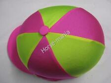 GIALLO fluorescente & Rosa Equitazione Cappello seta Copertura per casco da fantino TAPPI Taglia Unica