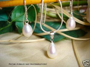 Set aus echten Perlen Tropfen 8x12mm Weiß, 925er Silber mit Kette  im Etui, TOP