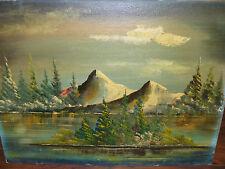 Antique Impressionist Mountain Landscape Oil on Partical Board ? 1900 century