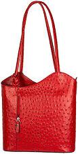 Leder Tasche Schulter Tasche Rucksack Rot Strauß Italien Handbag  Italy