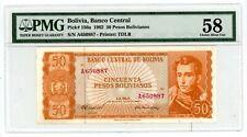 Bolivia ... P-156a ... 50 Pesos Bolivianos ... D.1962 .. Choice *AU-UNC*. PMG 58