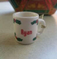 Adorable Miniature Vintage Coffee Cup Mug RYAN Christmas Tree Ornament