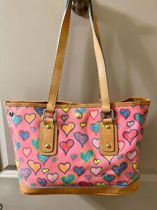New Dooney & Bourke Handbag large Pink w/hearts Shoulder Purse