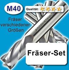M40 FräserSet, D=2-3-4-5-6-8-9-10-12mm Edelstahl Alu Messing Holz Kunststoff Z=2