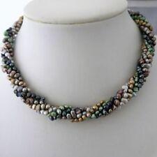 Angebot Echte Perlen fünfreihige Kette / Armband gedreht 37cm Multicolor TOP