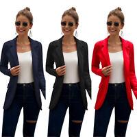 Womens Long Sleeve Lapel Formal Blazer Ladies Slim Jacket Coat Suit Outerwear