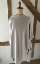 Cashmere Blend Fine Knit Silver Grey Button Down Multi Way Poncho Pashmina