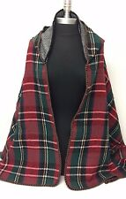 New Women's Winter Knit Outwear Cape With Hood Poncho Coat Plaid Red/Green/White