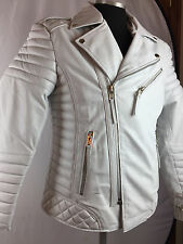 MENS GENUINE LAMBSKIN LEATHER BIKER JACKET MOTORCYCLE STYLE WHITE (ALL SIZE) NWT
