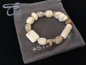 Silpada Sterling Silver White Opal Howlite Coconut Shell Stretch Bracelet B1655