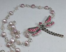 Pink enamel & marcasite dragonfly necklace, pearls, solid Sterling Silver, new.