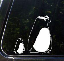"CAR - Penguin Rockhopper Mom & Baby - D2 - Vinyl Car Decal (4""w x 4""h) (WHITE)"