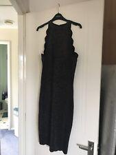 Lipsy Dress Size 16 Bodycon Black Gold Glittery Scalloped Neck Bnwt
