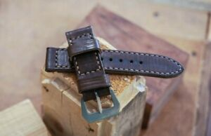 Handmade dark gray grey leather strap for Panerai with GPF buckle 27,26, 24,22mm