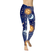 Woman Wide Belt Legging Sun Moon Stars Printed Legging S-XL