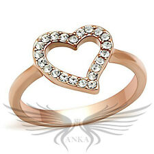 Heart Shaped Top Grade Crystal Cocktail Engagement Ring 4 5 6 7 8 9 10 Gl112