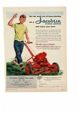 VINTAGE 1950 JACOBSEN GAS POWERED LAWN MOWER QUEEN BOY GRASS HAPPY AD PRINT