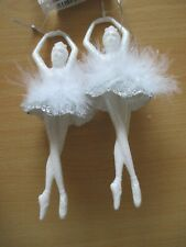 X2 Hanging Ballerina Christmas Tree Decorations. White & silver or Clear & Pink