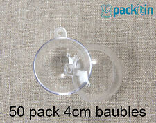 4cm (x50 qty) Clear Acrylic Two Piece ROUND Baubles Balls christmas ornaments