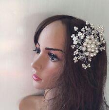 Elegant Bridal Wedding Hair Comb Pearl Crystal flower  Headpiece Hair Pieces UK