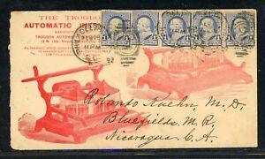 Nicaragua Postal History: LOT #26 1892 Advertising PHILADELPHIA - BLUEFIELDS $$$